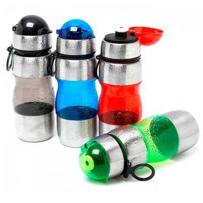 MSN Brindes - Squeeze de inox com plástico resistente, capacidade para 450 ml. Medidas para gravação (CxD):4,5 cm x 21,3 cm. Tamanho total (CxD):21,7 cm x 21,3 cm....
