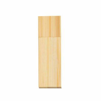Cross Brindes - Pen drive 4GB de bambu com tampa de imã, frente e verso lisos.