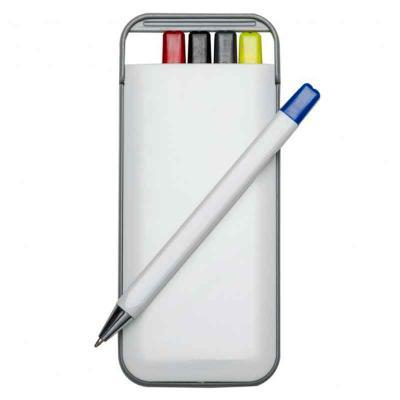 cross-brindes - Kit 5 em 1 branco em plástico resistente com gravação personalizada. Possui: caneta/carga azul, caneta/carga preto, caneta/carga vermelha, marca texto...