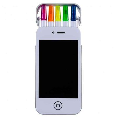 Cross Brindes - Kit marca texto plástico formato smartphone branco com gravação personalizada, detalhes frontal em preto e verso liso. Basta levantar laterais prata s...