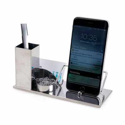 Cross Brindes - Kit escritório 4 em 1. Material inox espelhado, suporte para cartões, canetas, clips e celular.