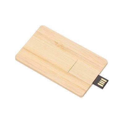 Cross Brindes - Pen card 4GB retangular de madeira, compartimento da memória giratório.