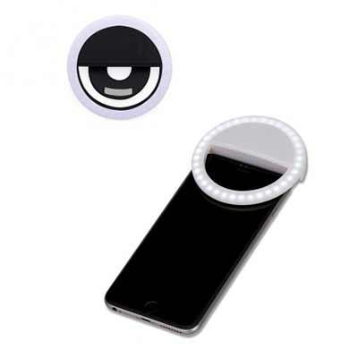 """Cross Brindes - Anel de iluminação para celular, utilizado para fotos em formato selfie. """"Ring light"""" plástico no formato """"presilha"""" para encaixe, possui três estágio..."""