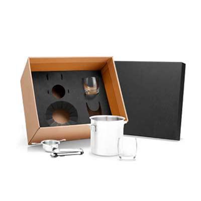 cross-brindes - Kit para drink Conta com balde para gelo, dosador e pegador em Inox; dois copos em Vidro.