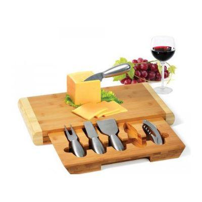Cross Brindes - Conjunto para queijo em bambu com abridro de vinho com 6 peças