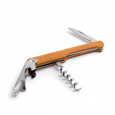Cross Brindes - Saca-rolhas. Madeira. Com abridor de garrafas e canivete de sommelier. Dimensão Produto: 109 x 25 x 8 mm