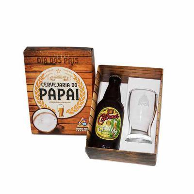 Design Promo - Kit cerveja em caixa de papel duplex com cerveja artesanal Colorado 300 ml com 1 copo de vidro de 200 ml para cerveja com gravação no copo e na tampa...