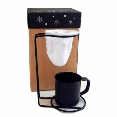 Design Promo - Kit Café personalizado em caixa de papel duplex com caneca de inox colorida e coador individual de inox com gravação na caneca e na tampa da caixa.