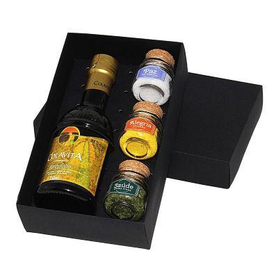 Design Promo - Kit azeite em caixa de papel duplex com azeite, potes de vidro com temperos e pimentas