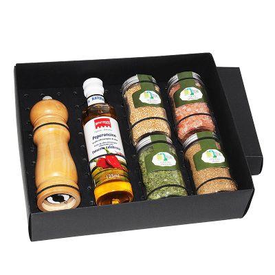 Design Promo - Kit azeite em caixa de papel duplex com azeite Italiano extra virgem Montosco de 125 ml com 4 potes de vidro com temperos e pimentas a escolher com mo...