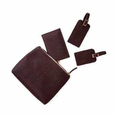 Ateliê Lapin - Kit de viagem com 4 peças em couro natural