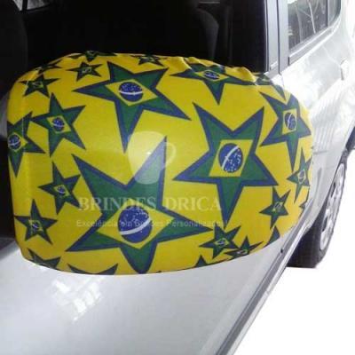 Brindes Drica - Capa de Retrovisor Universal – Com bandeira do Brasil e outros Países Impressão por sublimação: Não é silk – possibilitando uma figura com mais defini...
