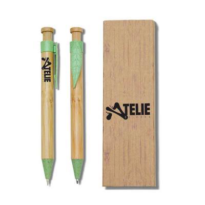 Ateliê Brindes - Kit caneta e lapiseira bambu