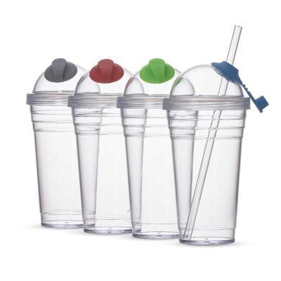 Splash7 Brindes - Copo plástico 480ml com canudo