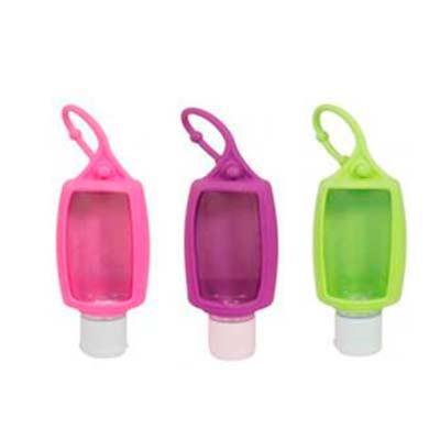 Galeria de Ideias - Chaveiro álcool em gel 70% 40ml. Com capinha emborrachada. Peças em diversas cores. Medidas: 94 x 45 x 22mm. Gravação: Silk.