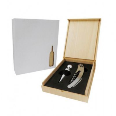 Galeria de Ideias - Kit vinho com 2 peças e estojo de madeira.