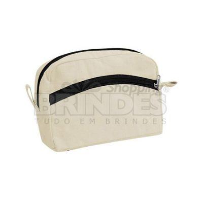 Shopping Brindes - Necessaire em lona 100% algodão - 21,5 X 15,5 X 8 cm