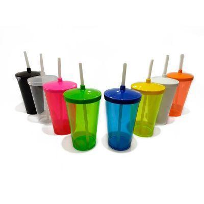 Master Coolers - Copo acrílico 500 ml com tampa e canudo