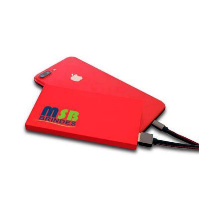 MSB Brindes personalizados - Carregador Power Bank emborrachado Slim-Capacidade Nominal: 3.7V - 6.200 mAh  Conexões: Entrada Micro USB e Saídas USB • Capacidade Nominal: 3.7V - 6....