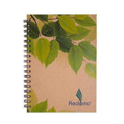 Redoma - Caderno Eco Personalizado.  Tamanho 17x24 com 192 páginas.  Impressão em cinza no papel off set branco.  Incluso porta caneta.