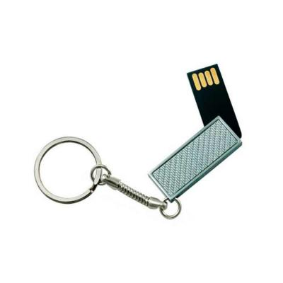 Thap  Brindes - Chaveiro Pen drive giratório 4GB. Parte frontal com detalhe texturizado liso e verso prata espelhado, acompanha corrente metálica.