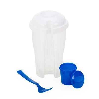 Thap  Brindes - Copo Salada Personalizado. Capacidade 850ml com garfo e compartimento para molho. Copo plástico transparente com três detalhes ovais.