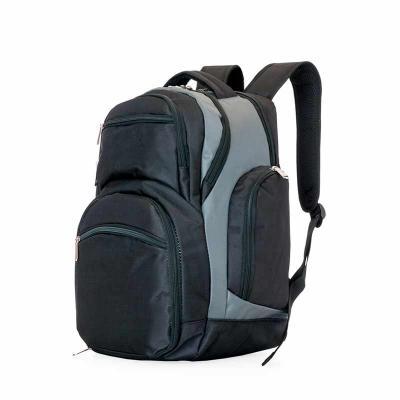 Thap  Brindes - Mochila poliéster para notebook com detalhes em nylon e neoprene. Possui compartimento grande com bolso interno, compartimento médio com detalhe inter...