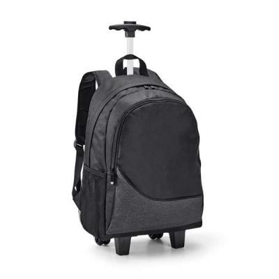 Job Promocional - Mochila trolley para notebook. 300D. Com 2 rodas duplas. Compartimento principal forrado e almofadado, com divisória almofadada para notebook até 15.6...