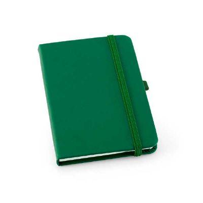 Job Promocional - Caderno capa dura. C. sintético. Com porta esferográfica e 80 folhas pautadas. 90 x 140 mm