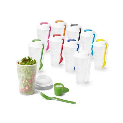 Job Promocional - Copo para salada e frutas em PP. Com garfo e molheira. Capacidade: 850 ml. Food grade. ø110 x 190 mm