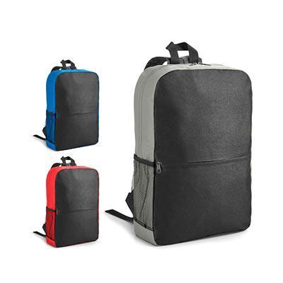 Job Promocional - Mochila para notebook. 600D. Compartimento com divisória almofadada para notebook até 15.6''. Bolso lateral em tela e bolso frontal. Parte posterior e...