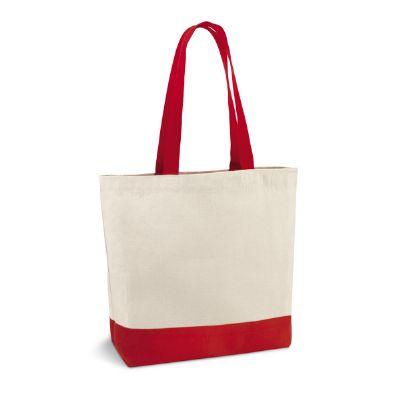 Job Promocional - Sacola em algodão com bolso interior e alças coloridas. Medidas 46 x 40 x 6,5 cm