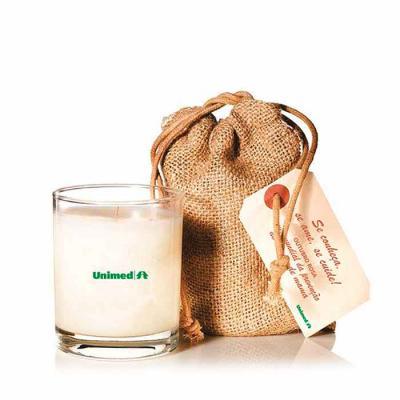Kit SPA com vela aromática, embalagem em tecido natural e tag personalizada