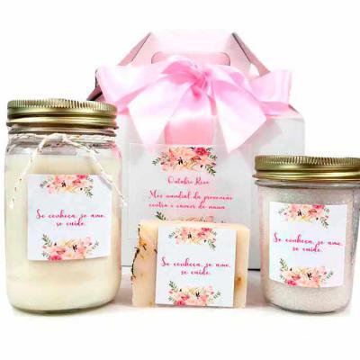 YepUp Presentes Criativos - KIT SPA com sais de Banho, vela aromática e sabonete natural