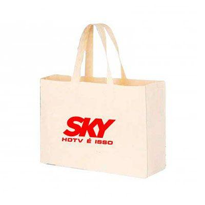 Abra Promocional - Sacola eco bag confeccionada em algodão com fole Tamanho: 35x40x10 cm. Personalizada.