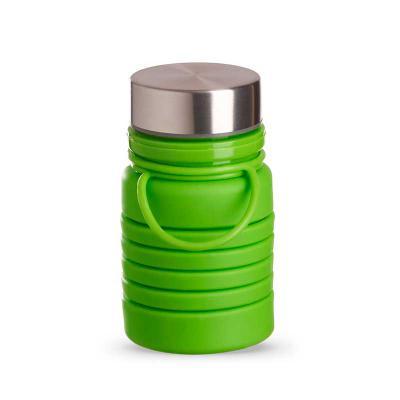Mexerica Brindes - Garrafa retrátil 600ml produzida em silicone livre de BPA. Possui tampa rosqueável de alumínio e alça para transporte. Obs.: apesar da marcação de cap...