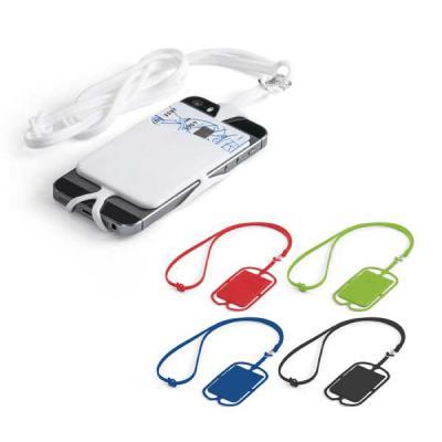 Mexerica Brindes - Porta cartões em silicone, com cordão e suporte para celular. Dimensões: Porta cartões 57 x 86 x 4 mm | Cordão 420 mm.