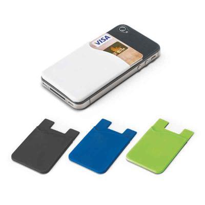 Mexerica Brindes - Porta cartões para smartphone, em silicone, com autocolante no verso. Dimensões: 57 x 87 x 3 mm