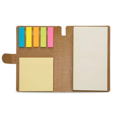 Mexerica Brindes - Bloco de anotações ecológico, material kraft. Possui uma trava na própria capa, cinco blocos autocolantes coloridos com aproximadamente 25 folhinhas,...