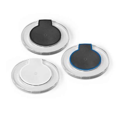 Mexerica Brindes - Carregador wireless em plástico ABS. Carregamento do dispositivo por indução. Entrada 5V/2A e saída 5V/1A. Incluso cabo USB/micro USB para carregar. D...