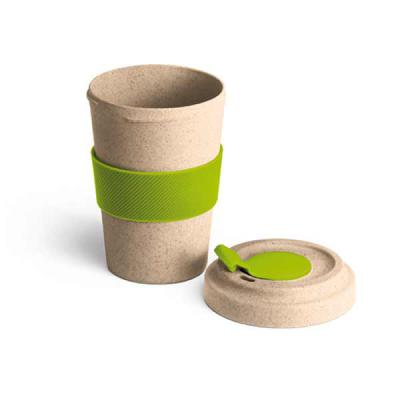 Mexerica Brindes - Copo para viagem 500 ml em fibra de bambu e PP. Com banda de silicone e tampa. Dimensões: ø95 x 140 mm