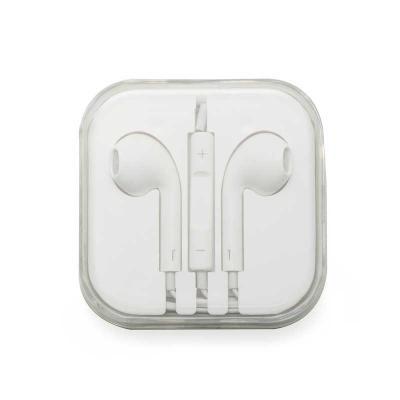 Mexerica Brindes - Fone de ouvido de saída P2 com microfone e controle de volume, possui cabo emborrachado e estojo de acrílico.