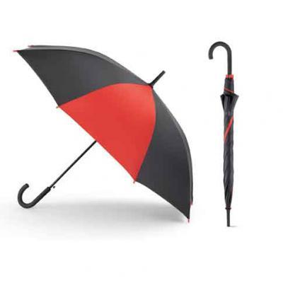Mexerica Brindes - Guarda chuva em poliéster 190T, com pega revestida em borracha e abertura automática. Dimensões: ø1040 mm | 830 mm.