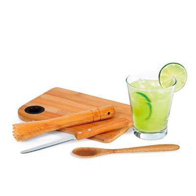 Mexerica Brindes - Kit caipirinha com 5 peças: colher, copo de vidro 350 ml, faca, socador e tábua.