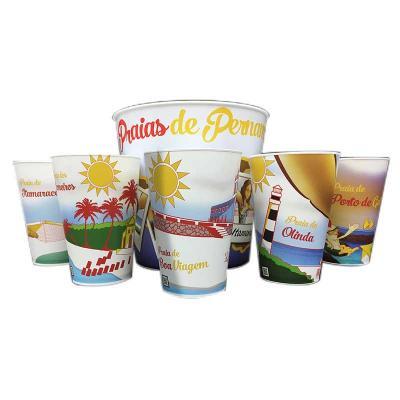 GiftWay - Kit de copos e balde personalizados das parais de Pernambuco, fabricado em PP com impressão IN MOLD LABEL.