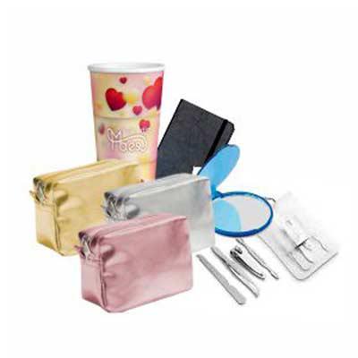 GiftWay - Kit dia das mães com copo personalizado em in mold label, necessarie com impressão digital, espelho e kit de higiene com impressão digital, podendo ve...