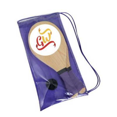 GiftWay - Kit raquet: comp. 40cm x largura 21cm x espessura 17mm. Contem 01 par de raquet, 01 bola de borracha profissional, 01 mochila plastica com alça em nyl...