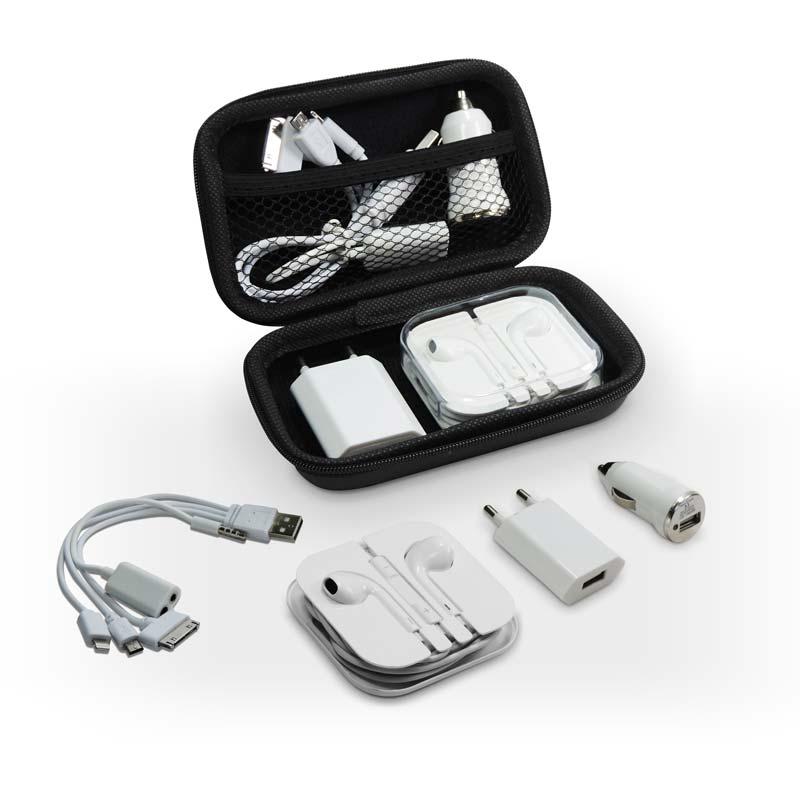 A & T Brindes Promocionais - Kit carregador de celular com fone de ouvido