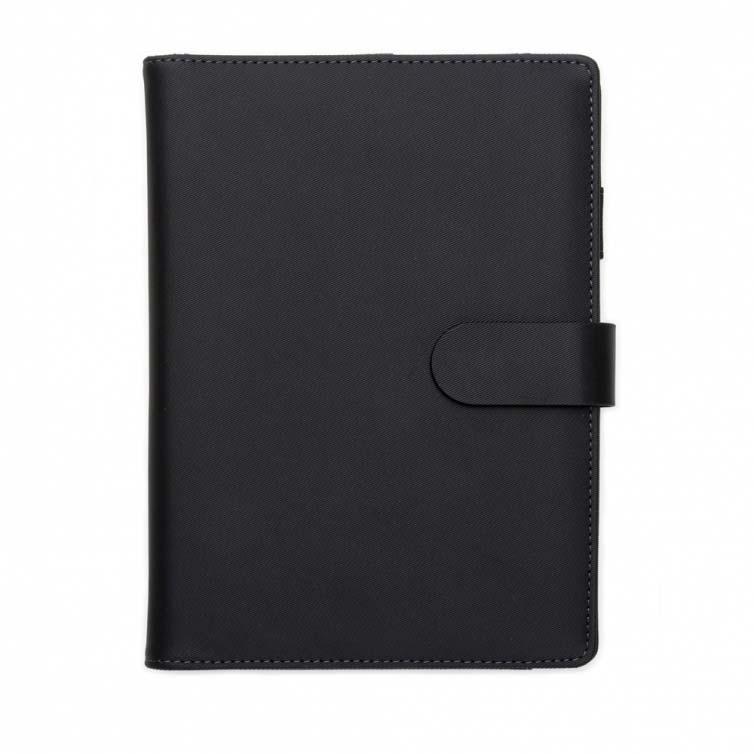 A & T Brindes - Caderno de anotações com power bank