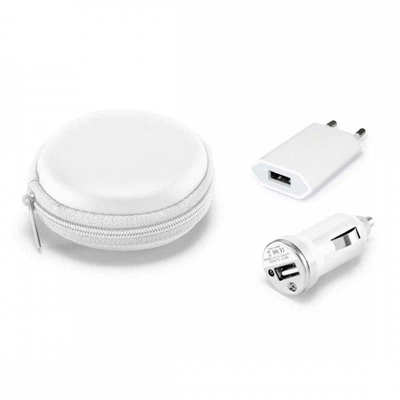 A & T Brindes Promocionais - Kit de carregadores USB. Em ABS, Inclui carregador de corrente DC 100 a 240V e carregador para carro DC 12-24V. Fornecido em estojo sem Gravação em EV...